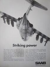 9/1971 PUB SAAB AIRCRAFT TWIN JET SAAB 105 SWEDISH AIR FORCE ORIGINAL AD