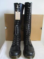 Dr. Martens Boots Knee High 20-Eye Black Leather Side Zip Size Women US 11 New