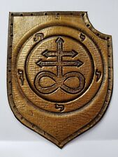 LEVIATHAN CROSS  ANTIQUE GOLD COLOR  GENUINE LEATHER  PATCH