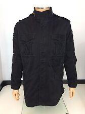 Maharishi Para hombres abrigo, Grande, L, negro, trench, chaqueta militar, en muy buena condición