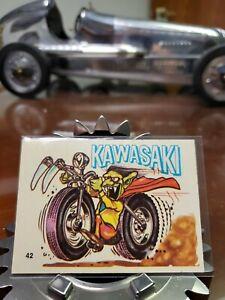 ODD RODS Donruss Silly Cycles Sticker Card #42 Kawasaki 1969-1973 Vintage