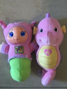 Hasbro Playskool Lullaby Gloworm and Fisher Price Soothe & Glow Seahorse