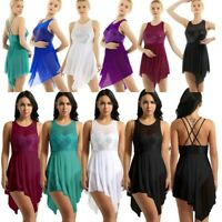 Women Lyrical Dance Dress Ballet Latin Sequins Bodysuit Leotard Skirt Costume