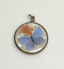 Vintage Sterling Silver & Bubble Glass Locket- Pendant w/Butterfly Wing on MOP