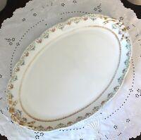 Vintage J Pouyat Limoges Pink & Blue Floral Gold Gilt Oval Platter