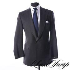 Paul Stuart Italian Wool S100s Solid Charcoal Grey Flannel Jacket Dual Vent 46 L