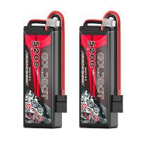 2x 5200mAh 50C 7.4V 2S Lipo Battery Traxxas Plug Hardcase For RC Evader BX Buggy