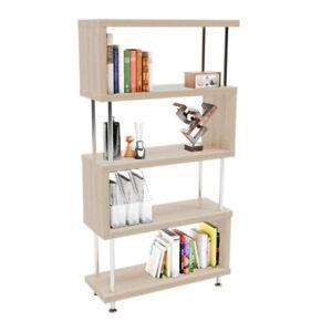 S-Shaped 5 Shelf Bookcase Bookshelf Shelf Storage Wood Furniture Home Office
