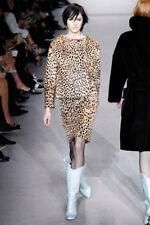 Tom Ford Goat Fur 42IT/6US/38EU Leopard Print Pencil Skirt Light & Dark Brown