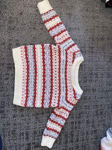 Baby Girls Sweater from Baby GAP Wool Blend Red Ivory Size 12-18 Months
