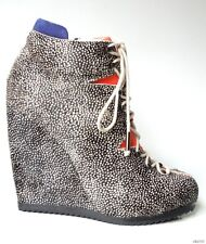 new $1875 PIERRE HARDY colorblock PONY HAIR wedge ANKLE BOOTS 39.5 9.5 - ART