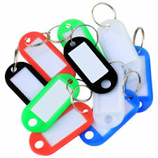 Hot Random 50Plastic Colour Key Tags with Paper Inserts Split Rings Number Plate