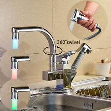 Led 360° Swivel Chrome Kitchen Faucet Pull Out Spray Deck MountedMixer Taps