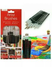 12Pc ARTIST PAINT BRUSHES SET Professional Brush Set OIL ACRYLIC WATERCOLOUR