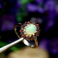 NATURAL 7X9mm. OVAL WHITE RAINBOW OPAL & RED WITH BLUE SAPPHIRE RING 925 SILVER