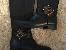 42488856f23b TORY BURCH BLACK LEATHER EMBOSSED LOGO RIDING KNEE HIGH BOOTS sz 8 1 2