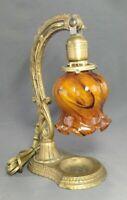 Antique Gold Cast Iron Art Deco Era Table Lamp Caramel Swirl Cased Glass Shade