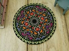 1:12 Beautiful Black Floral Miniature Dollhouse Round Rug