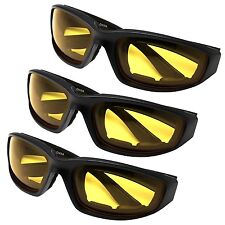 3 PAIR MOTORCYCLE RIDING GLASSES YELLOW FOR HARLEY DAVIDSON ALL WEATHER