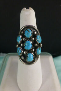 Vintage EH Sterling Silver Turquoise Ring Size 6 Long Beautiful