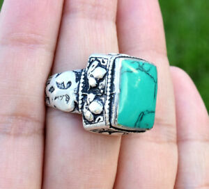 Green Turquoise Kuchi Silver Band Ring Tribal Square Ethnic Bohemian Boho Tower