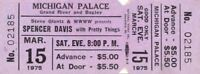 PRETTY THINGS / SPENCER DAVIS 1975 TOUR UNUSED MICHIGAN PALACE CONCERT TICKET