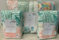Pottery Barn Kids Surf Vibes Island patchwork FULL QUEEN quilt 2 shams PINK