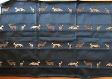 "Vtg Black Upholstery Fabric African Gazelle Africa Wildlife Satin Shine 56""x29"""