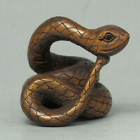 "1940's Japanese handmade Boxwood Wood Netsuke ""SNAKE"" Figurine Carving"