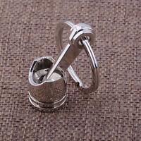 Metal Piston Car Keychain Keyfob Engine Fob Key Chain Ring keyring Gift Silver