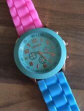 Geneva Ladies Silicone Fashion Watch WOW 3-Tone Pastel Colours