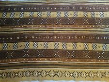 """Authentic African Handwoven Mutibrown Colored Mud Cloth Fabric 64"""" by 43"""""""