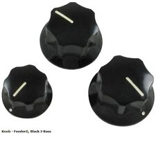 New Guitar Parts Knobs - Original Fender® J-Bass Black (Set of 3)