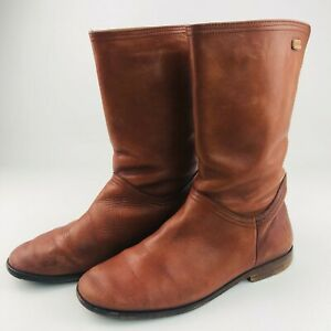 Camper Womens Brown Leather Boots 39 EUR Shoes Flat Mid Calf Knee High Alicante