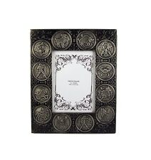 "Zodiac Antique Silver Wooden Picture Photo Frame Free Standing Holds 5"" X 7"" In"