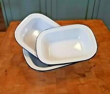 More details for three vintage falcon enamel  oblong nesting roasting pans, trays, pie dishes