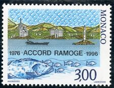 TIMBRE DE MONACO N° 2038 ** ACCORD RAMOGE / POISSONS / NAVIRE / PHARE LITTORAL
