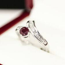 Wonderful White Gold Engagement and Wedding ring set with Ruby and Diamonds