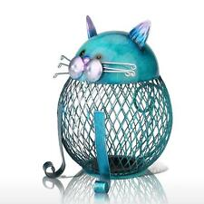 Homespun Blue Cat Shaped Piggy Bank Metal Coin Bank Money Box