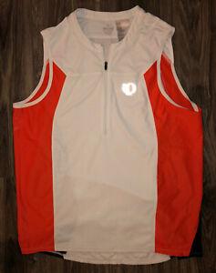Pearl Izumi White And Orange Sleeveless Quarter Zip Cycling Jersey / Shirt XL