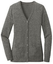 LADIES TWO TONED MARLED, 6 BUTTON UP FRONT, CARDIGAN SWEATER, POCKETS, XS-4XL