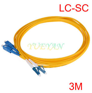 3 M LC to SC Fiber Optic Patch Cord Jumper Cable Single Mode Duplex 9/125  2.0mm