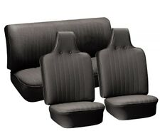 VW Seat Upholstery, Full Set, Black Basketweave Vinyl, Beetle/Super Cvt 1970-72