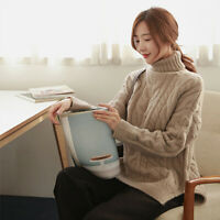 Women Turtleneck Cashmere Twist Sweater Winter Jumper Pullover Warm Coat