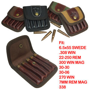 Leather Canvas Rifle Ammo Wallet/Shell Pouch/Cartridge Holder/Ammunition Carrier
