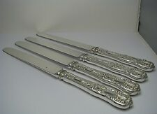 SET 4 ENGLISH KING TIFFANY & Co STERLING SILVER KNIVES SILVER PLATED BLADES 1885