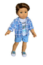 3 Piece Outfit - Shirt, Tee & Shorts Fits American Girl Dolls Boys & Logan - 18""