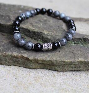 "Men's 8"" Black Onyx and Labradorite Beaded Stretch Bracelet Wristband"