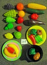 Kitchen PLAY FOOD Plastic Fruits and Vegetables  Pretend Set Lot  preschool *