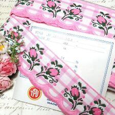 12y Bolt Vtg Jacquard Flower Trim Pink Rose Scallop Gingham Ribbon French Rococo
